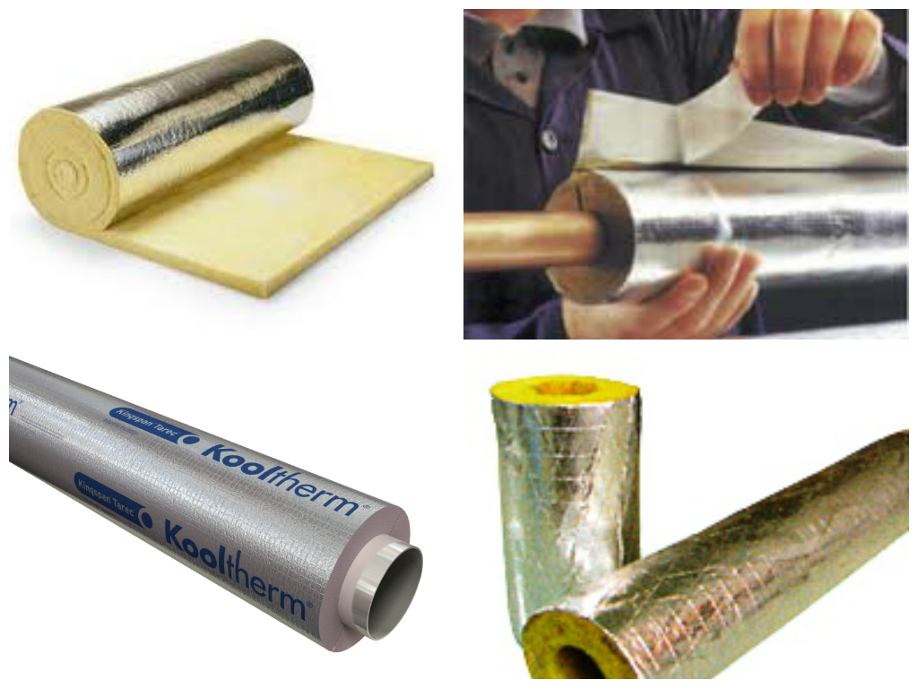 Silver Foil Covered Pipe Insulation