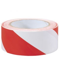 White and Red Hazard Tape 33m x 50mm