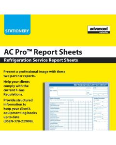 AC PRO (80034) Refrigeration Service Report Pad - Contains 50 x 2 Part Carbonated Report Sheets
