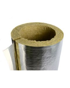 108mm Diameter 25mm Wall Rockwool Rocklap Foil Faced Mineral Wool Insulation 1 metre Length