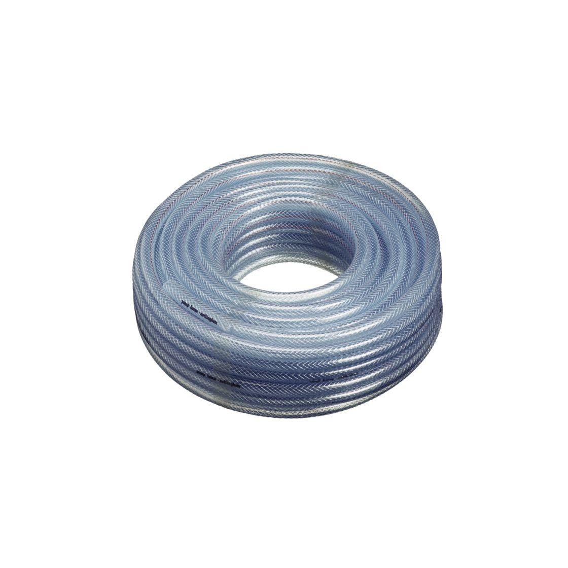 Flexible Plastic Air Tubing 10mm Bore Garden Reinforced CLEAR PVC Braided Hose